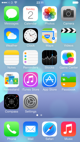 Default iOS 7                 homescreen (screenshot of copyrighted computer software,                 and the copyright for its contents is most likely held                 by the author(s) or the company that created the                 software. It is believed that the use of a limited                 number of web-resolution screenshots: for identification                 of, and critical commentary on, the software in question                 in the absence of a free alternative, on the                 English-language Wikipedia, hosted on servers in the                 United States by the non-profit Wikimedia Foundation,                 ...  qualifies as fair use under United States copyright                 law. Any other uses of this image, on Wikipedia or                 elsewhere, may be copyright infringement. See                 Wikipedia:Non-free content for more information. Purpose                 of use: To illustrate the default layout and                 configuration of the iOS 7 homescreen as released by                 Apple. Replaceable? There is no free alternative to                 replace a screenshot as a free image.)
